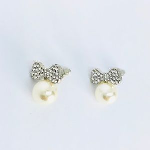 New! Rhinestones Bow Knot Pearl Dangle Earrings